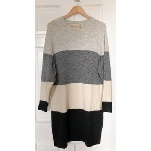 Aritzia Wilfred Sweater Dress Grey black stripe